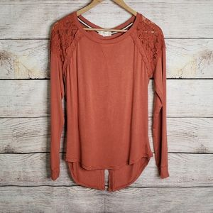 Altar'd State burnt orange long sleeve top w lace